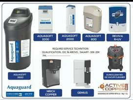 Wanted Service  Technicians in Eureka Forbes Aquaguard Water Purifiers