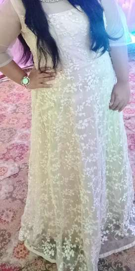 Cream color gown , pearl work with white embroidery , designer piece