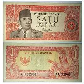 Uang kertas kuno Satu Rupiah Suekarno th 1961