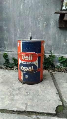 kaleng oli 25 liter MADE IN FRANCE jadul vintage antik lawas kuno