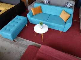 Sofa scandinavian +puff + meja..