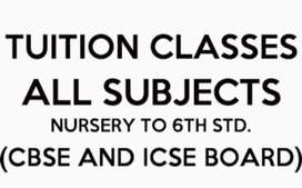 Tutions Available for class 1st to 6th