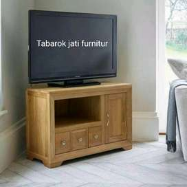 Meja tv minimalis slim moderen, P.100cm, bahan kayu jati asli 100%