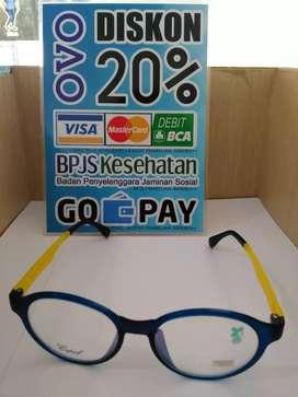 Frame Kacamata Bulat Warna Biru Dibagian Tangkainya Warna Kuning