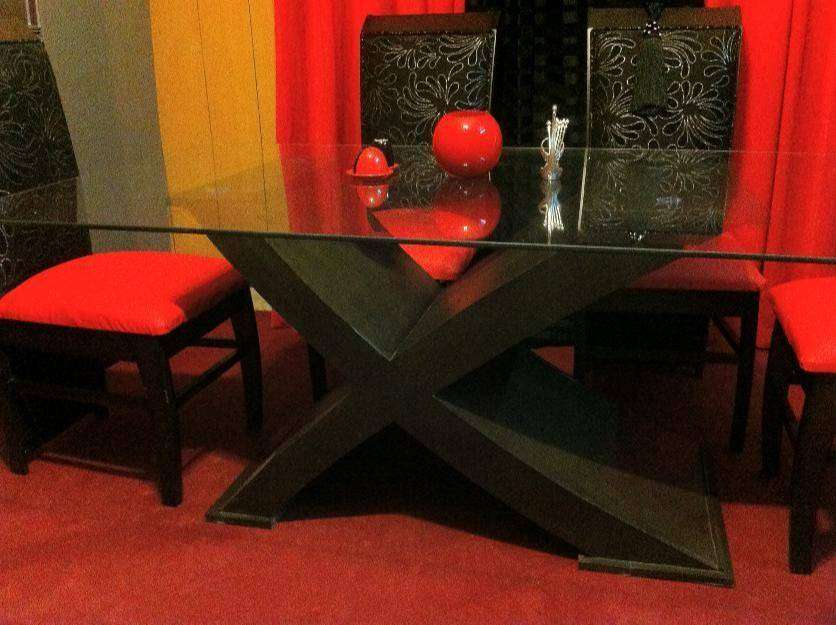 X Dinning table Chen One Style six cushon chairs Brand New & Luxury 0