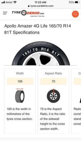 Apollo Amazer 4G life 165/70 R14 81T new Tyres