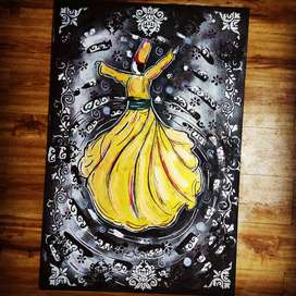 Whirling dervish acrylic Painting