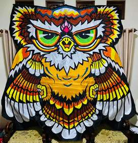 Layang layang kreasi kain motif cutting (Celepuk, kupu-kupu dan burung