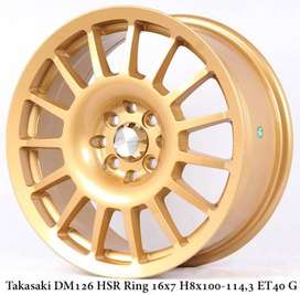 Toko pelek TAKASAKI DM126 HSR R16X7 H8X100-114,3 ET40 GOLD