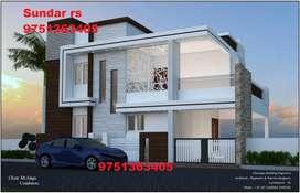 60 lakhs 3 BHK villa sale in vadavalli
