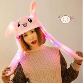 Topi kelinci Led gerak lucu Bunny hat dance rabbit korea kpop - Kelinc