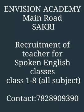 Teachers for spoken english and class 1-8 (all subjects )