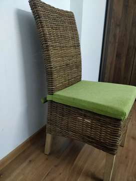 Cane chairs with cushion