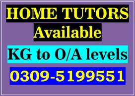 Quality Home Tutors are available. All sectors of Islamabad. KG to MS