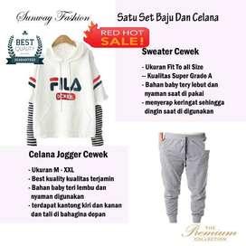AM00404 Celana Setelan Satu set Sweater cewek dan celana joger