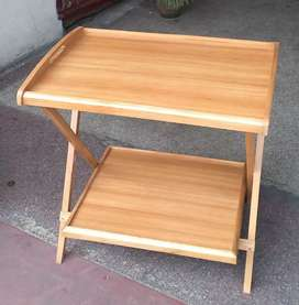 Wooden folding table double portion