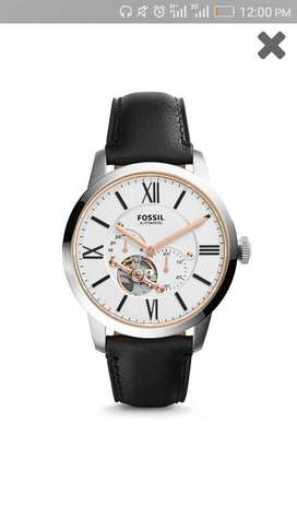 Fossil Automatic Black Leather Watch