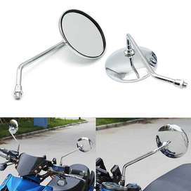 CHROME MOTORCYCLE REAR VIEW SIDE MIRRORS