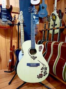 Gitar Lakewood Natural Motif Bunga Rose