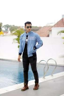 Jaket jeans pria rocafela bordir size M L.XL