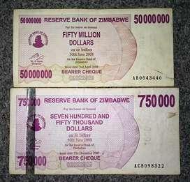 Uang kertas asing kuno th 2007 /2008 / 2 lembar