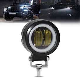 1 pair 3 Inch Round  Bumper LED Fog Lights White Angel Eye DRL