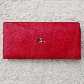 Dompet import eks Mexican merah kulit asli simpel