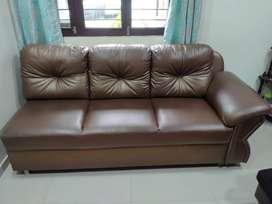 L shape luxurious brown sofa