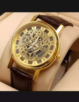 Golden & black leather strap analog watch for men(description read ok)