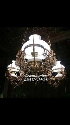 Lampu gantung klasik antik repro betawi katrol OVJ hias rumah jawa