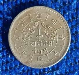 Nepal half rupee coin