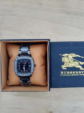 Jam tangan wanita rantai hitam stainless include box