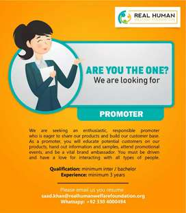 Looking for promoters from Gulistan-e-johar only. Fresh can also apply