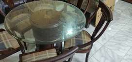 ROUND BIG TABLE WITH 6 CUSION CHAIRS