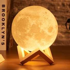 RAMBERY Lampu Tidur 3D Printed Moon Night Light Table Lamp 12 cm