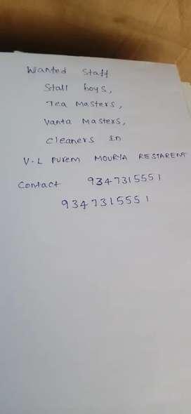 Require tea masters, vanta master,supplers,cleaners in Hotel.