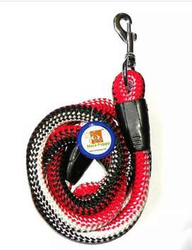 Mera Puppy Soft Dog Rope Leash For Regular Dogs60 inches (Red & White)