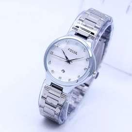 Jam Tangan Wanita Rantai Silver Bersih Kaca Kristal