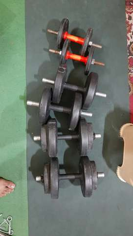 Dumbbells with curl rod, straight rods, push up stand