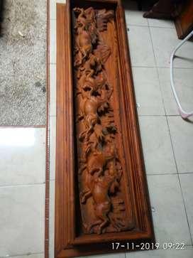 relief kuda kayu antik