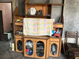 Wooden cabinet with TV panel