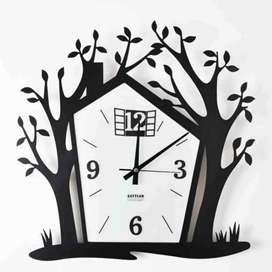 WOODEN HOUSE CLOCK 12 INCHES