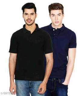 Free shipping/ stylish solid polycotton men's t-shirts pack of 2