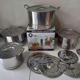 mini panci soup  set stock pot steamer tri ji