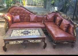 Sofa jati jepara sudut model mewah set ketapang