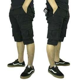 Celana Cargo Kempol PDH Pendek Hitam Polos Size 27-38