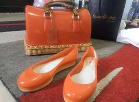 Furla orange candy bag & flat shoes sepaket original authentic