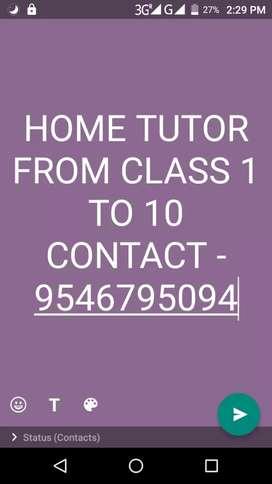 Home tutor for class 1-10
