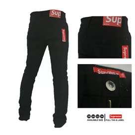 Celana jeans supreme hitam
