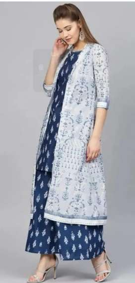 Best Selling kurti with plazzo and shrug